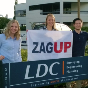 LDC employees with ZAGUP sign