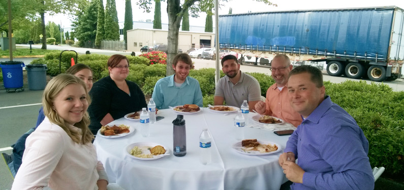 LDC employee enjoying company bbq